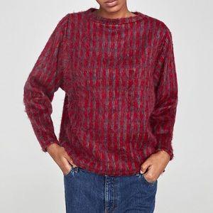 Zara soft touch checked fuzzy sweater